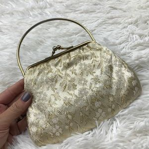 Vintage Cream & Gold Clutch with metal handle